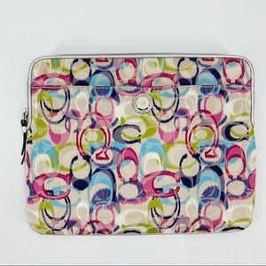 Coach multicolor logo iPad padded carrying case
